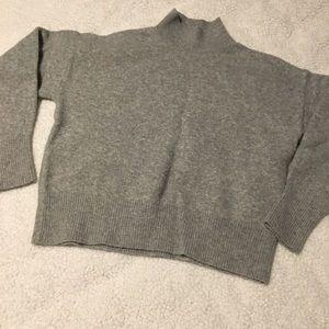 Mock neck light gray sweater
